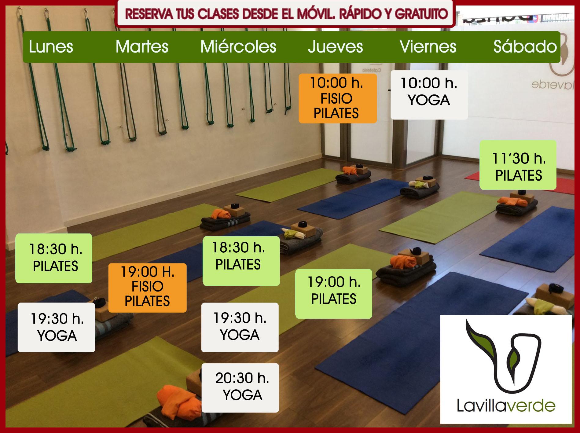 horario yoga y pilates