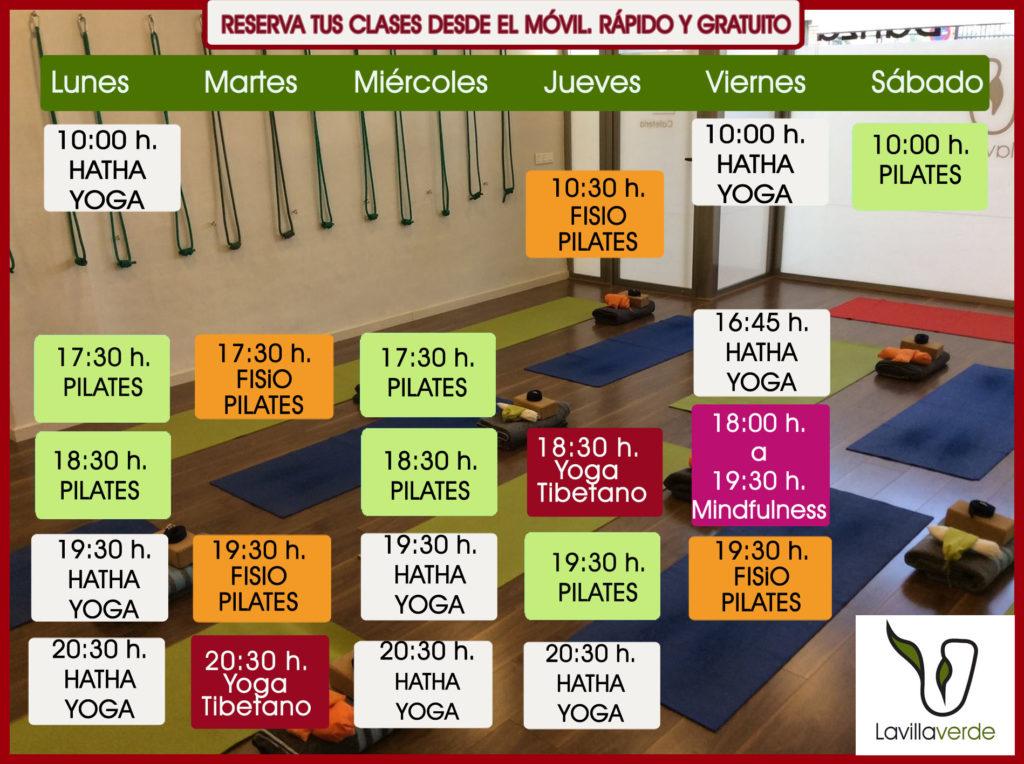 horario actividades septiembre. reserva ya tus clases de Hatha Yoga,Mindfulness, Fisiopilates, Yoga Tibetano Lu Jong o Pilates. Grupos reducidos y los mejores profesionales.